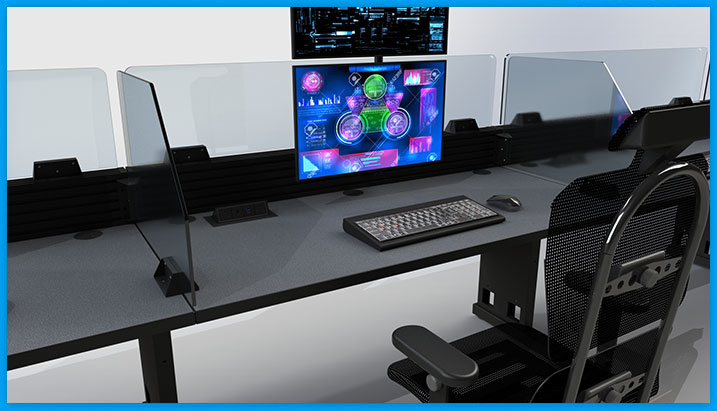 NOC console furniture with safety guard divider barrier