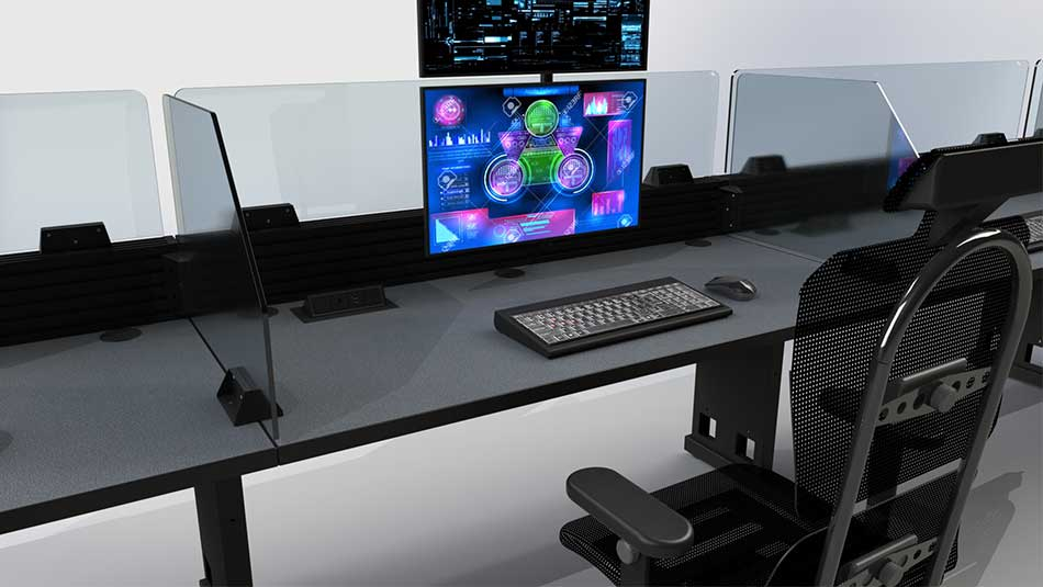Closeup of console furniture work surface with keyboard and task chair