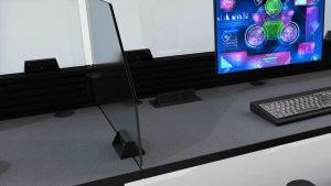 console storage beneath command desk