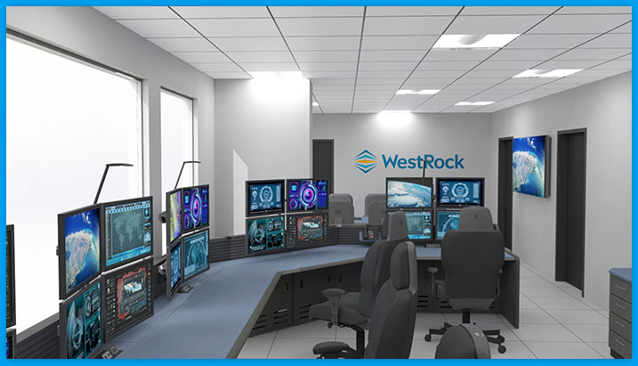 command center furniture, multi-desk with task chairs and stacked monitors at WestRock