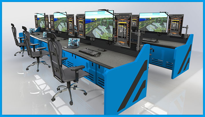 command center furniture. multiple rows, multi-desk with task chairs and monitors, blue laminate