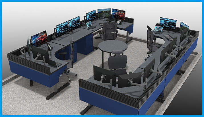 adjustable-height control room consoles, square setup, with multi-operator stations, task chairs, and monitors