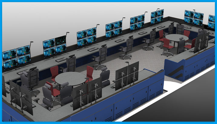 control room consoles, square setup, with multi-operator stations, task chairs, and monitors