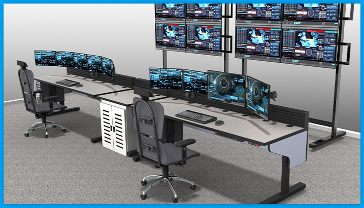 control room furniture rendering with dual operator support, task chairs, and large monitor stand