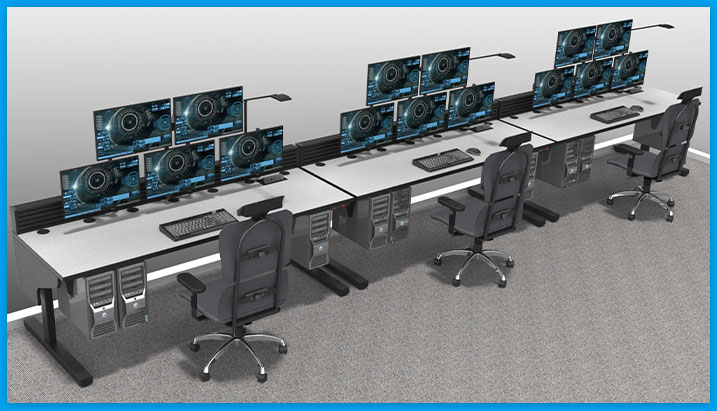 noc furniture, three-operator row with task chairs and stacked monitors