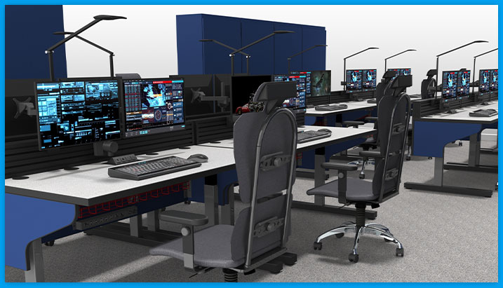 close-up rendering of noc furniture desk in room of many desks, with task chairs and monitors