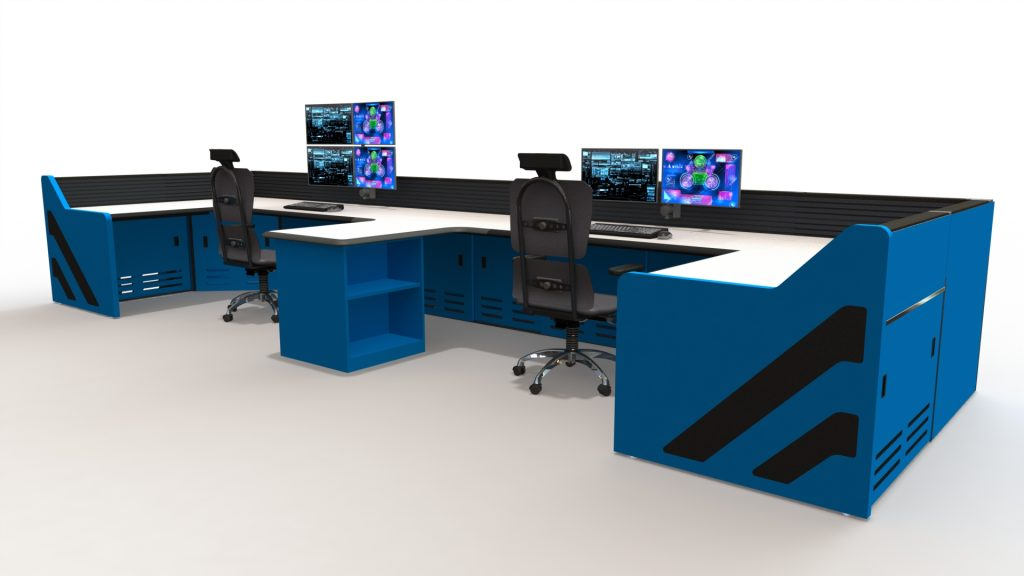 Blue U Shaped Control Room Storage
