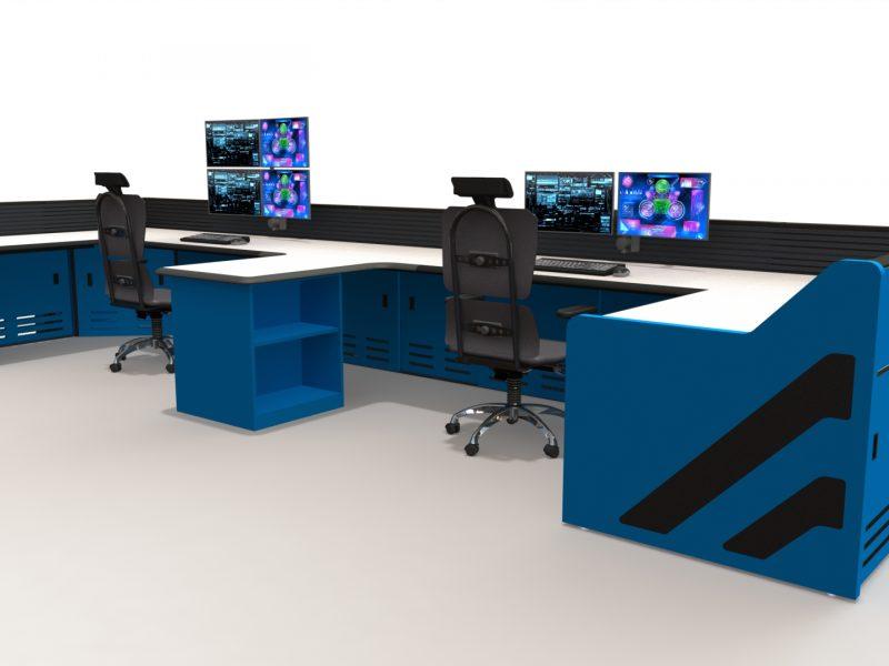 Blue U Shaped Control Room Storage