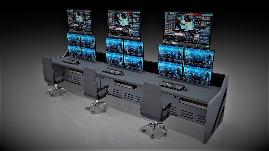 Dark Gray Control Room Furniture