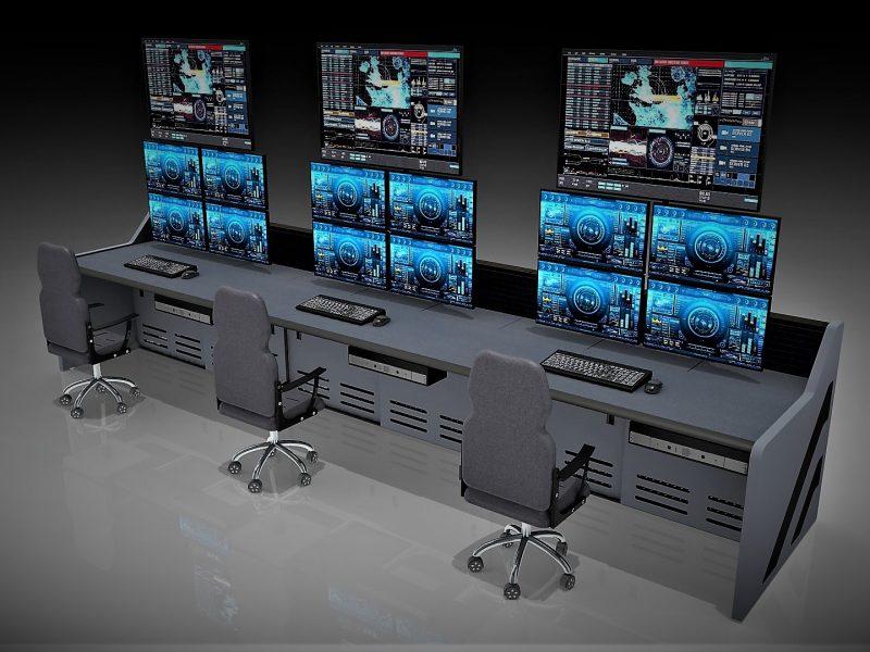 Dark Gray Control Room Furniture