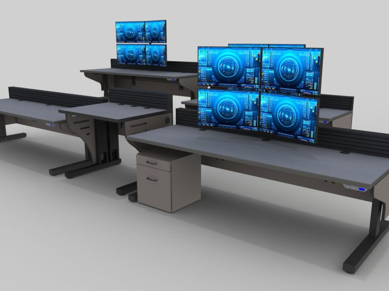 Gray Sit Stand Console For Control Room