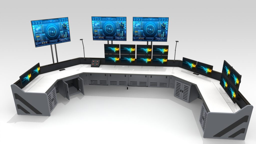 Gray U Shaped Control Room Furniture Enterprise