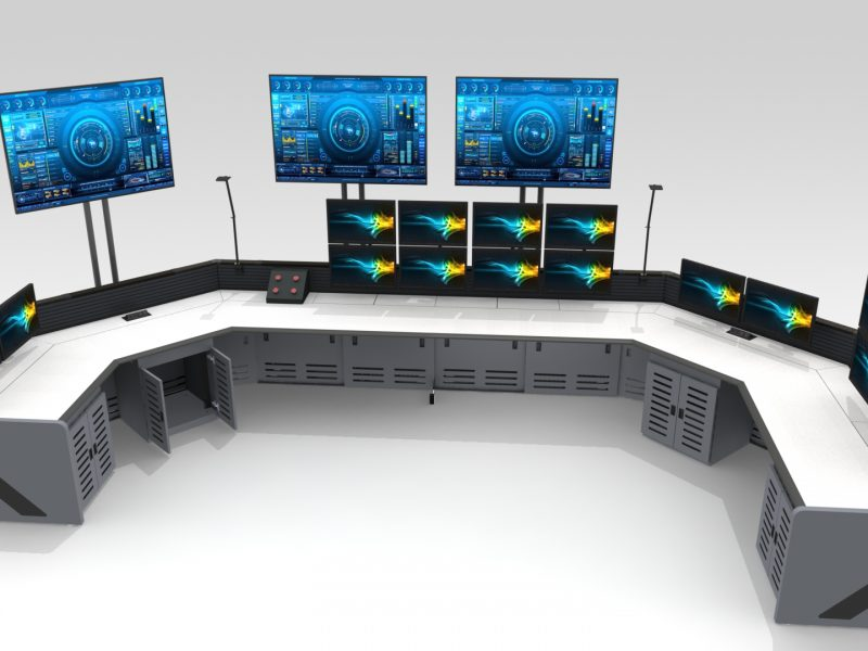 Gray U Shaped Control Room Furniture Enterprise