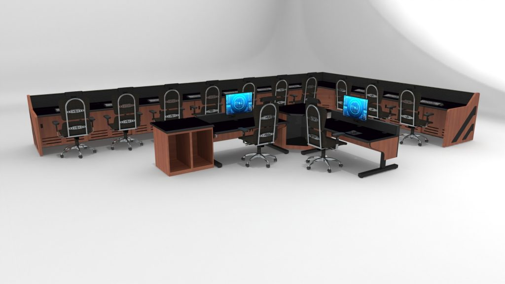 L Shaped Enterprise Control Room Furniture