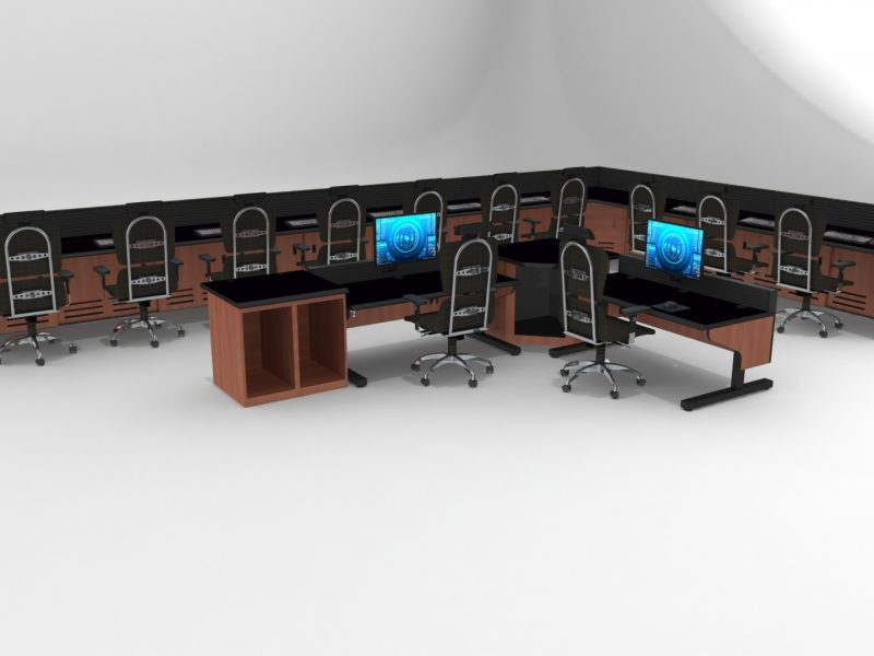 L Shaped Enterprise Control Room Furniture