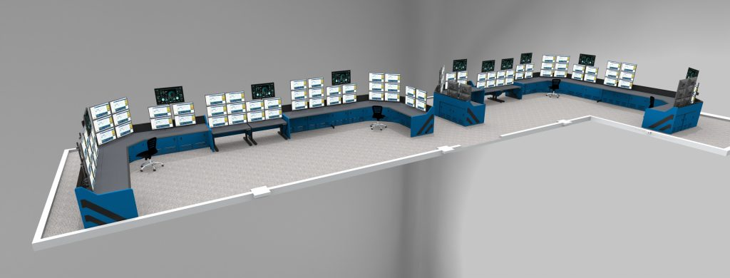 Large Control Room Rendering Enterprise Inracks