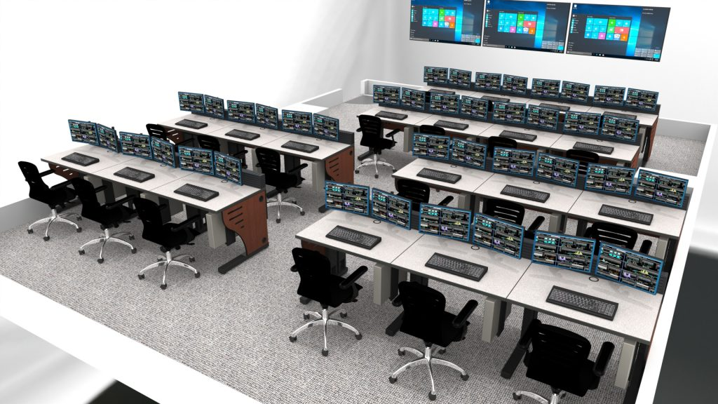 2020 Control Room with mulitple rows and operators