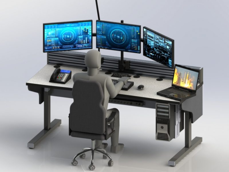 Single Station Sit Stand Control Room Console