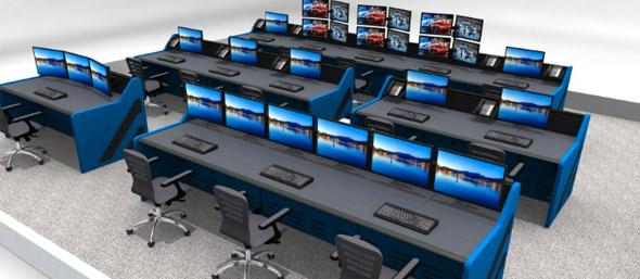 Birds Eye View of 3D Control Room Rendering