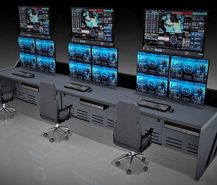 SCADA DCS Control Room Furniture Design 3D Rendering