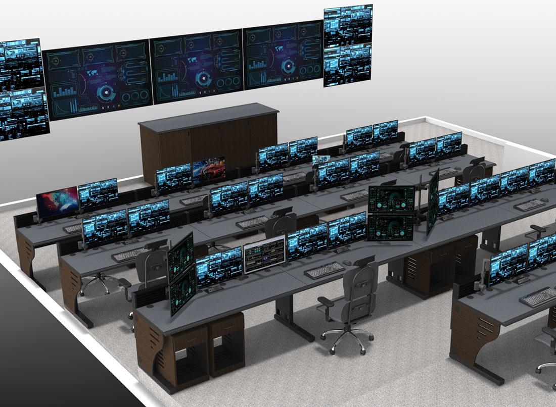 control room furniture diagram wide