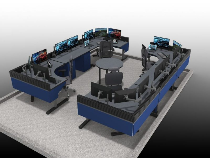 Sit Stand Blue Control Room Furniture