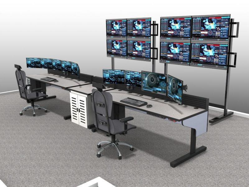 Sit Stand Light Blue Control Room Furniture