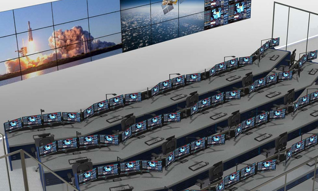 command center design rendering with large display screens and consoles